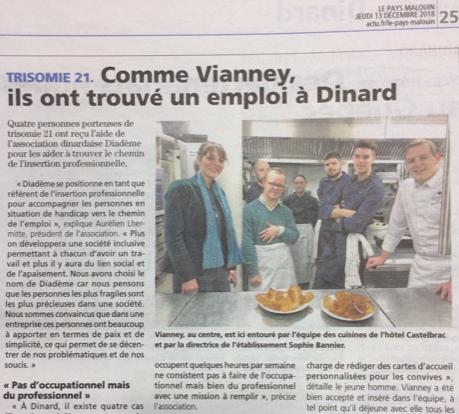 Article Pays Malouin : «Comme Vianney, ils ont trouvé un emploi à Dinard»
